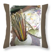 Artist Brushes  Throw Pillow