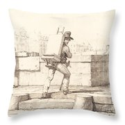 Artist Carrying Easel With A Lithographic Stone Throw Pillow