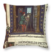 Artist Painting A Portrait Throw Pillow