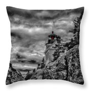 Artistic Bass Harbor Lighthouse In Acadia Throw Pillow