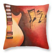 Artistic Guitar With Musical Notes Throw Pillow