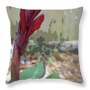 Artistic Red Canna Lily Throw Pillow