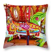 Artistically Textured Carousel Throw Pillow