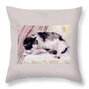 Artist's Cat Sleeping Throw Pillow
