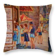 Artists Corner Rue St Jacques Throw Pillow
