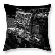 Artist's Easel At Street Market In Nice, France Throw Pillow