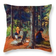 Artists In The Woods Throw Pillow