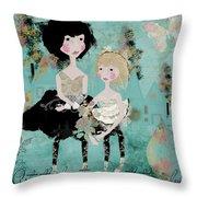 Artsy Girls Throw Pillow