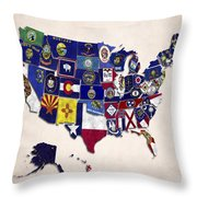 United States Map With Fifty States Throw Pillow