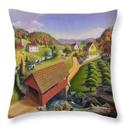 Folk Art Covered Bridge Appalachian Country Farm Summer Landscape - Appalachia - Rural Americana Throw Pillow
