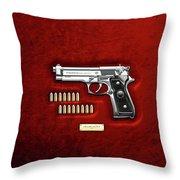 Beretta 92fs Inox With Ammo On Red Velvet  Throw Pillow