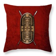 Zande War Shield With Spears On Red Velvet  Throw Pillow