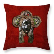 Dan Dean-gle Mask Of The Ivory Coast And Liberia On Red Velvet Throw Pillow by Serge Averbukh