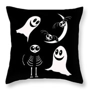 Halloween Bats Ghosts And Cat Throw Pillow