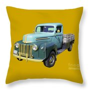 Old Flat Bed Ford Work Truck Throw Pillow