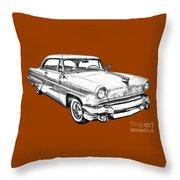 1955 Lincoln Capri Luxury Car Illustration Throw Pillow