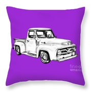 1955 F100 Ford Pickup Truck Illustration Throw Pillow