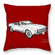 1967 Convertible Camaro Car Illustration Throw Pillow