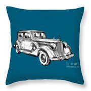 Packard Luxury Antique Car Illustration Throw Pillow