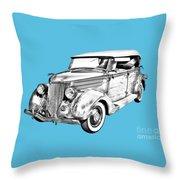 1936 Ford Phaeton Convertible Illustration  Throw Pillow
