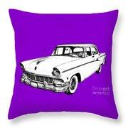 1956 Ford Custom Line Antique Car Illustration Throw Pillow