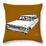 1964 Ford Galaxy Country Stationwagon Illustration Throw Pillow