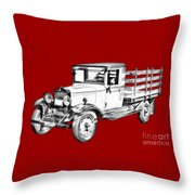 1929 Chevy Truck 1 Ton Stake Body Drawing Throw Pillow