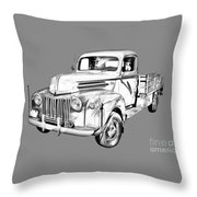 Old Flat Bed Ford Work Truck Illustration Throw Pillow