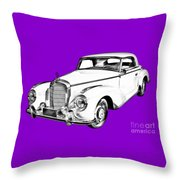 Mercedes Benz 300 Luxury Car Drawing Throw Pillow