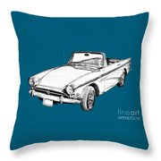 Alpine 5 Sports Car Illustration Throw Pillow