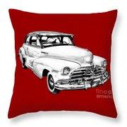 1948 Chevrolet Fleetmaster Antique Car Illustration Throw Pillow