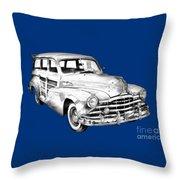 1948 Pontiac Silver Streak Woody Illustration Throw Pillow