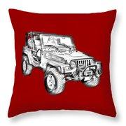 Jeep Wrangler Rubicon Illustration Throw Pillow