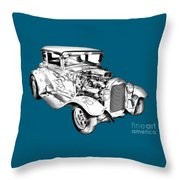 1930 Model A Custom Hot Rod Illustration Throw Pillow