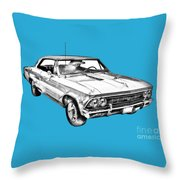 1966 Chevy Chevelle Ss 396 Illustration Throw Pillow