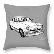 1950  Ford Custom Antique Car Illustration Throw Pillow