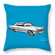 1964 Chevrolet Impala Car Illustration Throw Pillow