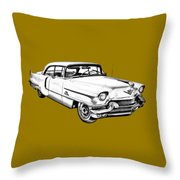 1956 Sedan Deville Cadillac Car Illustration Throw Pillow