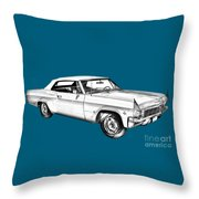1965 Chevy Impala 327 Convertible Illuistration Throw Pillow