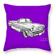 1957 Chevrolet Bel Air Convertible Illustration Throw Pillow