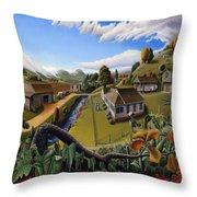 Appalachia Summer Farming Landscape - Appalachian Country Farm Life Scene - Rural Americana Throw Pillow