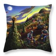 Autumn Farmers Shucking Corn Appalachian Rural Farm Country Harvesting Landscape - Harvest Folk Art Throw Pillow