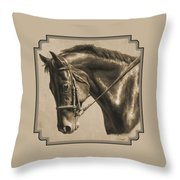 Horse Painting - Focus In Sepia Throw Pillow