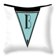 Pennant Deco Blues Banner Initial Letter B Throw Pillow