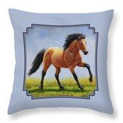 Buckskin Horse - Morning Run Throw Pillow by Crista Forest