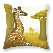Giraffe And Savanna Throw Pillow