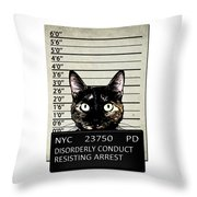 Kitty Mugshot Throw Pillow