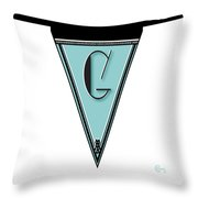 Pennant Deco Blues Banner Initial Letter G Throw Pillow