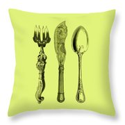 Vintage Cutlery 4 Throw Pillow