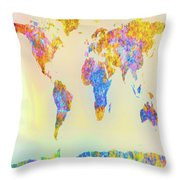 Abstract Earth Map 2 Throw Pillow